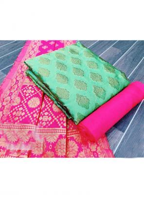 Pista Green Banarasi Silk Casual Wear Weaving Salwar Suit