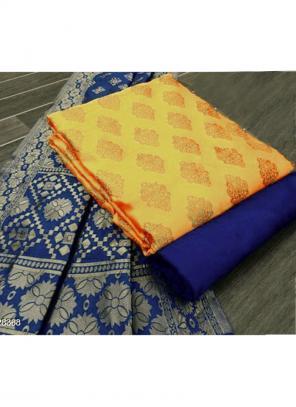 Yellow Banarasi Silk Casual Wear Weaving Salwar Suit