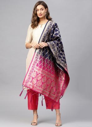 Blue And Pink Banarasi Silk Party Wear Zari Work Dupatta