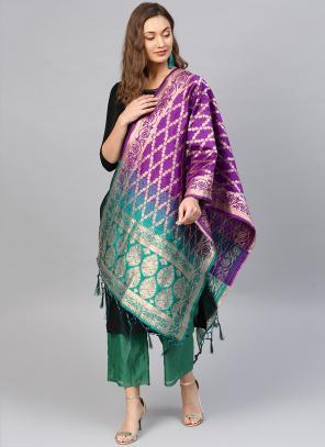 Blue And Purple Banarasi Silk Party Wear Zari Work Dupatta