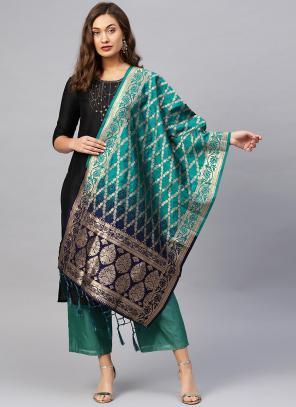 Blue And Rama Banarasi Silk Party Wear Zari Work Dupatta