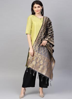 Grey And Black Banarasi Silk Party Wear Zari Work Dupatta