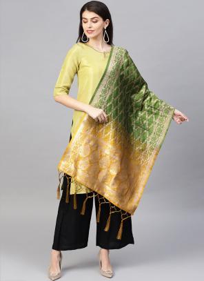 Mustard And Green Banarasi Silk Party Wear Zari Work Dupatta