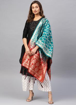 Red And Blue Banarasi Silk Party Wear Zari Work Dupatta