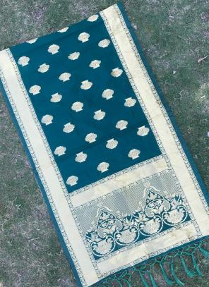 Silk Rama Blue Festival Wear Zari Work Dupatta