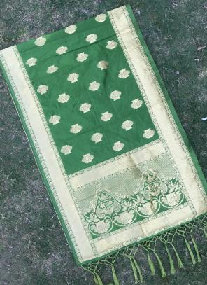 Green Festival Wear Silk Zari Work Dupatta