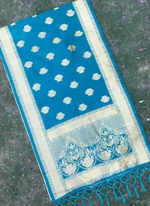 Sky Blue Festival Wear Zari Work Silk Dupatta