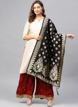 Silk Black Wedding Wear Zari Work Dupatta