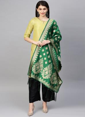 Silk Dark Green Wedding Wear Zari Work Dupatta