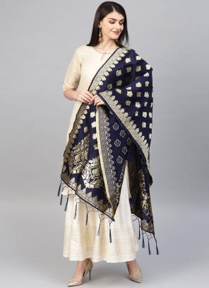Silk Navy Blue Wedding Wear Zari Work Dupatta