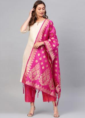 Silk Rani Wedding Wear Zari Work Dupatta