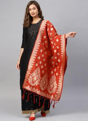 Silk Red Wedding Wear Zari Work Dupatta