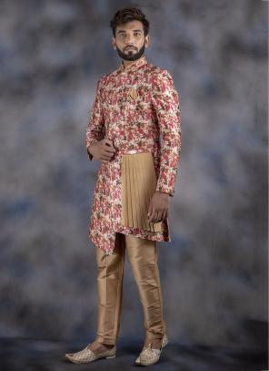 Weaving Multi Color Jacquard Wedding Wear Sherwani