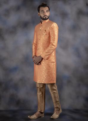 Light Orange Jacquard Wedding Wear Weaving Sherwani
