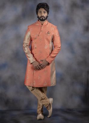 Peach Wedding Wear Weaving Jacquard Sherwani