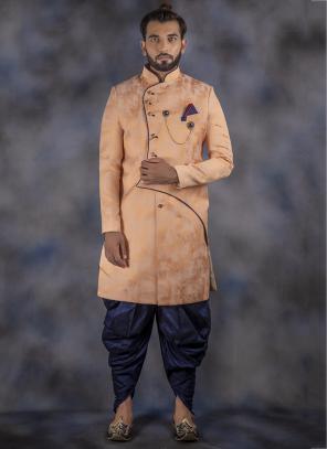 Weaving Peach Jacquard Wedding Wear Sherwani