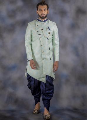 Pista Green Imported Wedding Wear Weaving Sherwani