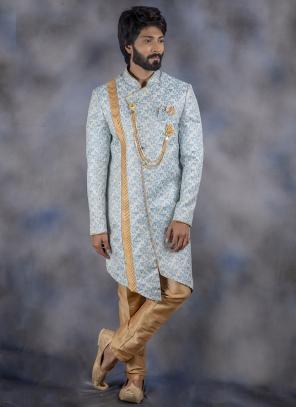 New Sky Blue Jacquard Wedding Wear Weaving Sherwani
