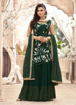 Dark Green Georgette Wedding Wear Embroidery Work Sharara Suit
