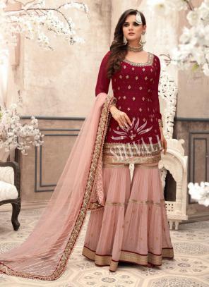 Maroon Georgette Wedding Wear Embroidery Work Sharara Suit