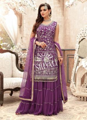 Purple Georgette Wedding Wear Embroidery Work Sharara Suit