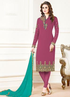 Pink Georgette Festival Wear Embroidery Work Churidar Suit