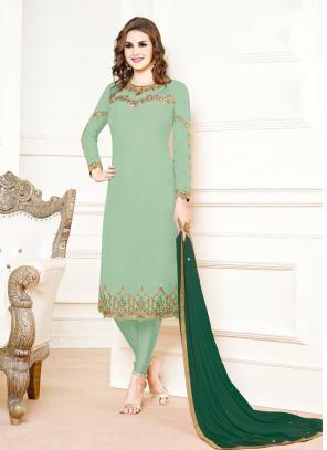 Pista Green Georgette Festival Wear Embroidery Churidar Suit