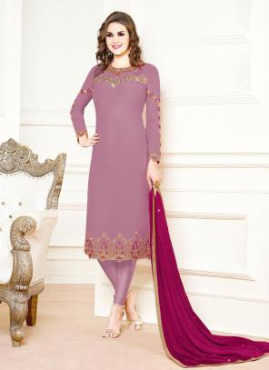 Purple Georgette Festival Wear Embroidery Churidar Suit