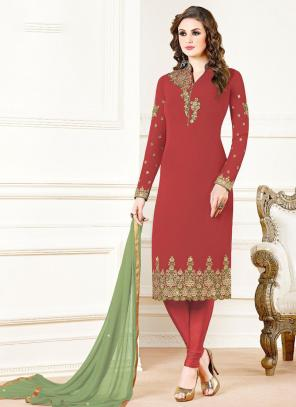 Red Georgette Festival Wear Embroidery Work Churidar Suit