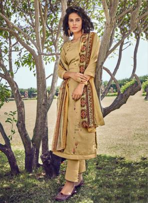 Beige Cotton Satin Embroidery Work Daily Wear Straight Suit