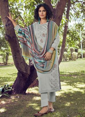 Grey Cotton Satin Daily Wear Embroidery Work Straight Suit