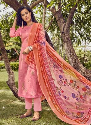 Cotton Satin Pink Daily Wear Embroidery Work Straight Suit