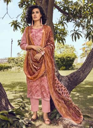 Embroidery Work Pink Cotton Satin Daily Wear Straight Suit