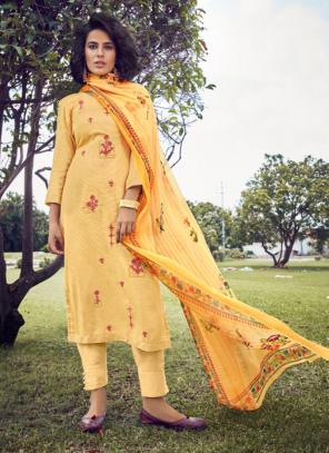 Yellow Cotton Satin Daily Wear Embroidery Work Straight Suit