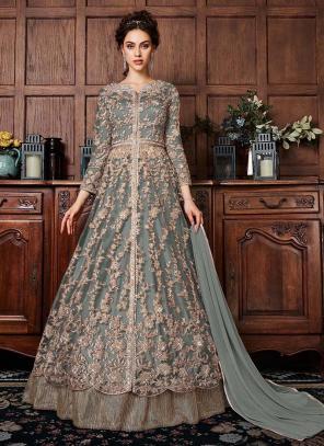 Grey Net Wedding Wear Sequins Work Anarkali Suit