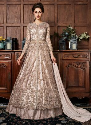 Light Chiku Net Wedding Wear Sequins Work Anarkali Suit