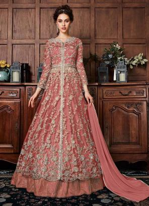 Pink Net Wedding Wear Sequins Work Anarkali Suit