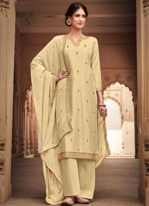 Beige Silk Cotton Festival Wear Heavy Embroidery Work Palazzo Suit
