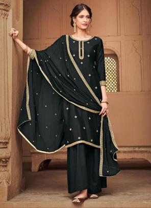 Black Silk Cotton Festival Wear Heavy Embroidery Work Palazzo Suit