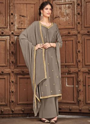 Grey Silk Cotton Festival Wear Embroidery Work Palazzo Suit