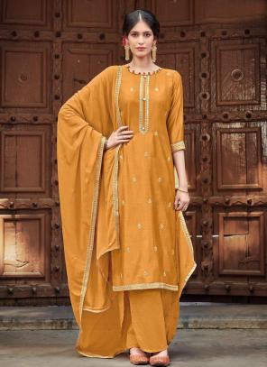 Mustard Cotton Silk Festival Wear Embroidery Work Palazzo Suit