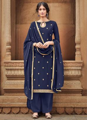 Navy Blue Silk Cotton Festival Wear Embroidery Work Palazzo Suit