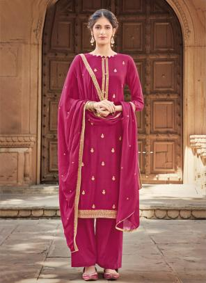 Rani Silk Cotton Festival Wear Embroidery Work Palazzo Suit