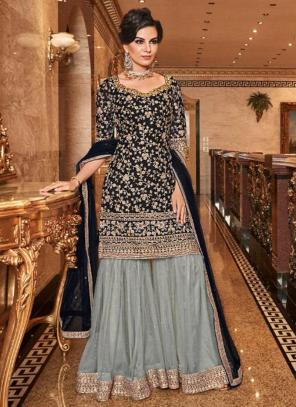 Black Net Bridal Wear Heavy Embroidery Work Sharara Suit