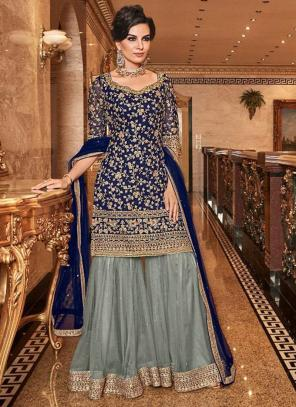 Navy Blue Net Bridal Wear Heavy Embroidery Work Sharara Suit