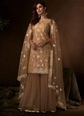 Brown Net Party Wear Sequins Work Sharara Suit