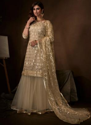 Cream Net Party Wear Sequins Work Sharara Suit