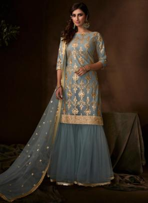 Grey Net Party Wear Sequins Work Sharara Suit