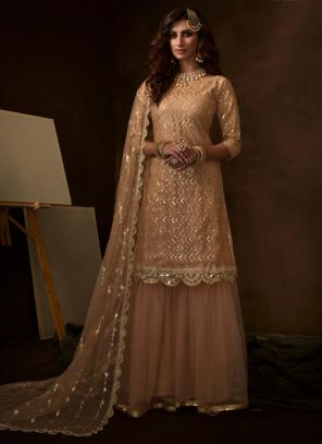 Peach Net Party Wear Sequins Work Sharara Suit