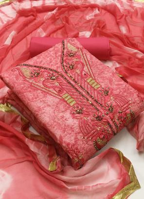 Dark Pink Cotton Casual Wear Printed Work Unstitched Salwar Suit